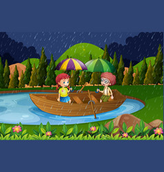 rainy day with two kids in rowboat vector image