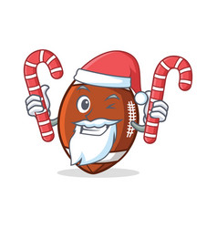 santa american football character cartoon with vector image