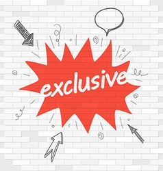 White brick wall and graffiti label Exclusive vector image