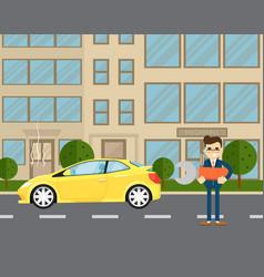car repairs banner with man near broken car vector image