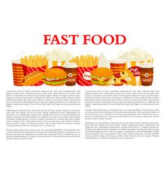 fast food poster of burger drink dessert vector image vector image