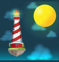 lighthouse float island cloud night vector image