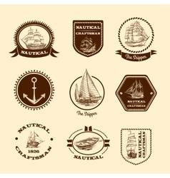 Sketch nautical emblems vector image