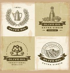 Vintage olive oil labels set vector