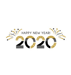 2020 happy new year sign with golden vector image