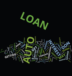 Auto loan text background word cloud concept vector