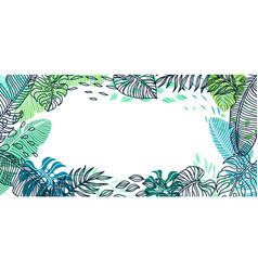 background with palm leaves vector image