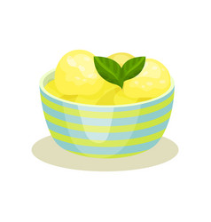 balls of tasty lemon ice-cream and mint leaves in vector image
