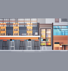 bar interior cafe counter with bottles alcohol vector image