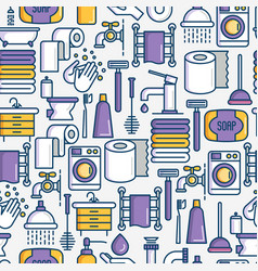 bathroom equipment seamless pattern vector image