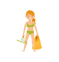 Beautiful girl holding swimming mask and flippers vector