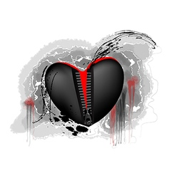 black and red heart vector image