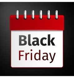 Black friday sale calendar on black background vector image