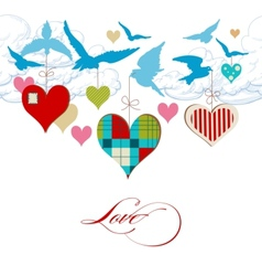 Blue birds and hearts in the sky vector image