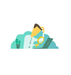 Businessman with magnifier in hand looking vector