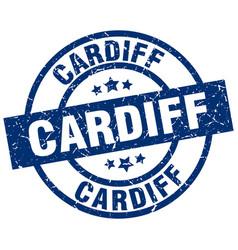 Cardiff blue round grunge stamp vector