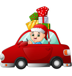 cartoon boy driving a car carrying a presents vector image