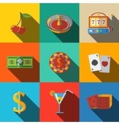 Casino gambling modern flat icons set - dice vector image