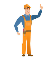 caucasian builder pointing with his forefinger vector image