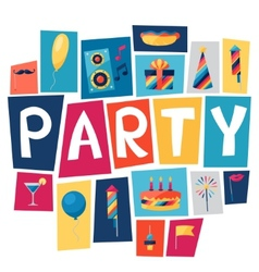 Celebration background with party icons vector