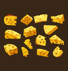 cheese lumps slices and head pieces dairy food vector image
