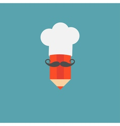 Chef hat and big mustache with pencil Menu card vector