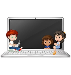 Children and laptop computer vector