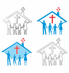 christian family outline and colored fill vector image