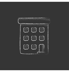 Condominium building Drawn in chalk icon vector