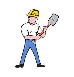 construction worker with shovel spade vector image