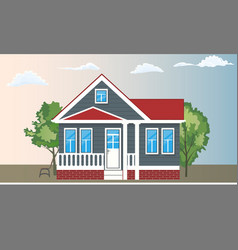 cool detailed house and trees with front view vector image