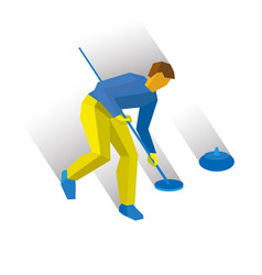 Curling cartoon player clear way to stone vector