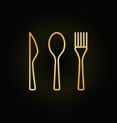 cutlery golden linear icon vector image