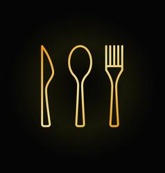 Cutlery golden linear icon vector