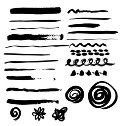 Different grunge brush strokes vector image