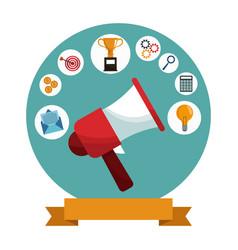 Digital marketing megaphone social media vector