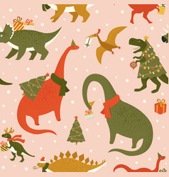 dino christmas party tree rex dinosaur in santa vector image