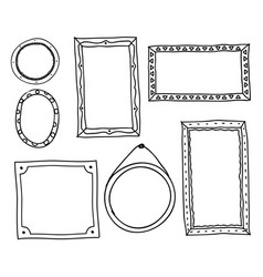 doodle photo frames hand drawn square oval circle vector image