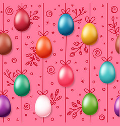 easter eggs on rope holiday seamless pattern vector image