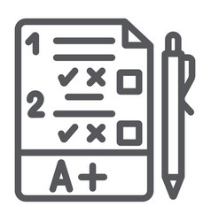exam line icon questionnaire and form task sign vector image