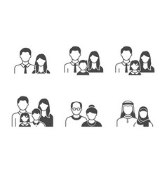 family with kids people avatar flat icons vector image