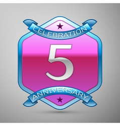 Five years anniversary celebration silver logo vector