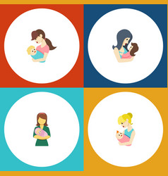 flat icon mother set of woman child parent and vector image