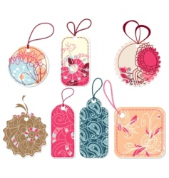 floral tags vector image