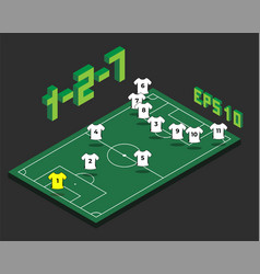 Football 1-2-7 formation with isometric field vector