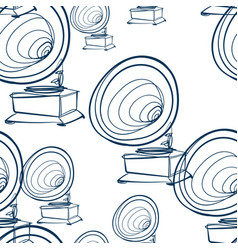 gramophone music seamless pattern outline vector image