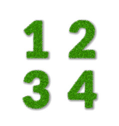 grass numbers 1 2 3 4 green numbers one two vector image