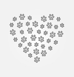 gray pets footprints in heart shape vector image