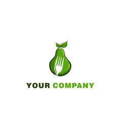green avocado and negative space of fork logo vector image