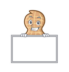 Grinning with board peanut character cartoon style vector
